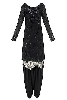 Black Embroidered Full Sleeves Tunic and Shaded Pants Set