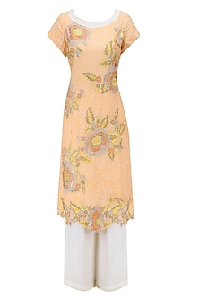 Peach Floral Embroidered Tunic with Ivory Palazzo Pants