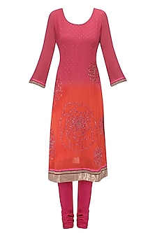 Pink Floral Embroidered Shaded Kurta Set