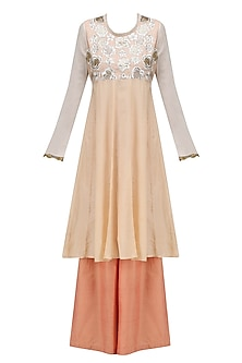 Peach Floral Embroidered Kurta and Palazzo Pants Set