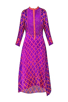 Purple and Red Tye and Dye Printed Tunic