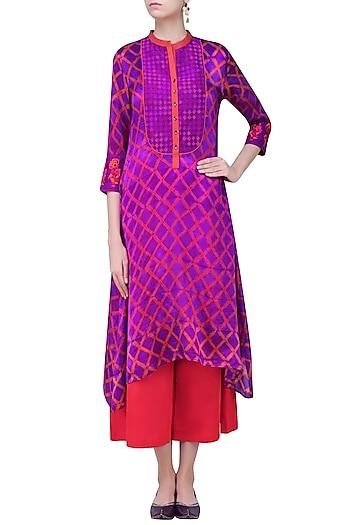 Purple and Red Tye and Dye Printed Tunic by Krishna Mehta