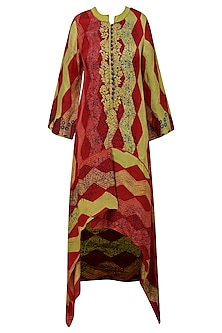 Red and Olive Tye and Dye Printed Tunic