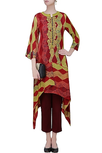 Red and Olive Tye and Dye Printed Tunic by Krishna Mehta