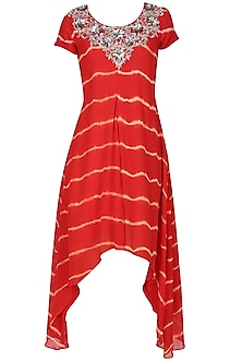 Red tye and dye zardozi and beads embroidered dress