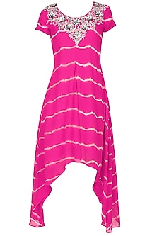 Fuschia pink tye and dye zardozi and beads embroidered dress