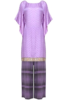 Purple tie and dye printed kaftan tunic and flared pants set