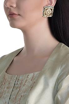 22Kt Gold Plated Meenakari Kundan & Pearls Earrings by Just Shraddha