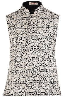 Black and Cream Floral Embroidered Waist Coat by Kommal Sood