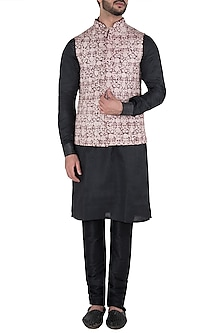Burgundy and Peach Floral Embroidered Waist Coat by Kommal Sood