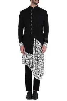 Black Asymmetrical Embroidered Achkan Jacket by Kommal Sood