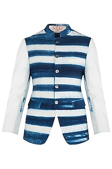 Blue and White Clamp Dyed Waist Coat