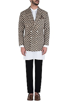 Beige and Black Block Printed Jacket by Kommal Sood