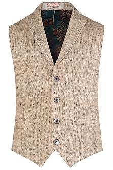 Beige Handloom Silk Waist Coat