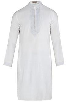 White Embroidered Kurta by Kommal Sood