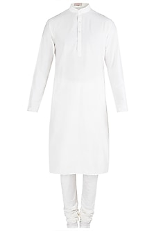 White Cotton Silk Kurta by Kommal Sood