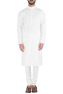 White Cotton Silk Kurta by Kommal Sood