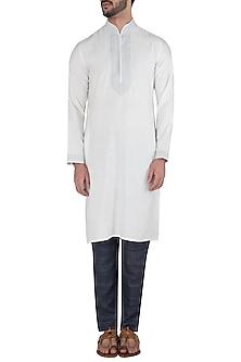 Navy Blue Slim Fit Trousers by Kommal Sood