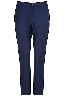 Navy Blue Cotton Silk Trousers