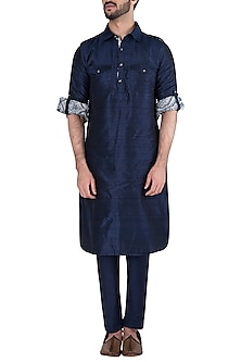Navy Blue Cotton Silk Trousers by Kommal Sood