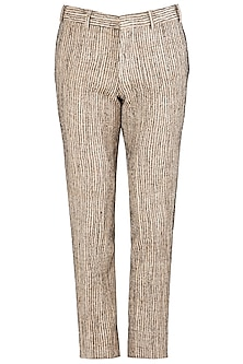 Beige Slim Fit Trousers by Kommal Sood