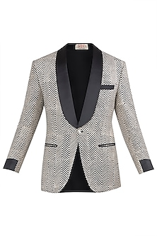 Beige and Black Block Printed Jacket