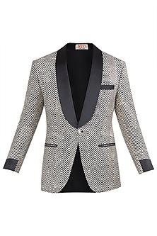 Beige and Black Block Printed Jacket by Kommal Sood