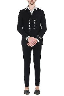 Black Double Breasted Jacket by Kommal Sood