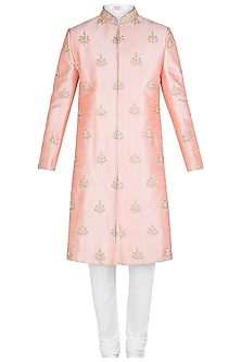 Peach Embroidered Sherwani Set by Kommal Sood