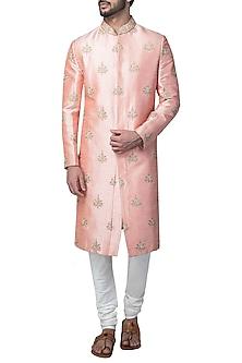Peach Embroidered Sherwani Set by Kommal Sood