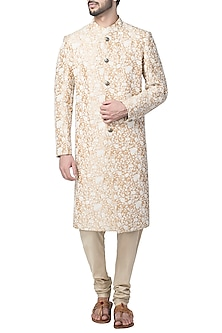 Beige Embroidered Sherwani Set by Kommal Sood