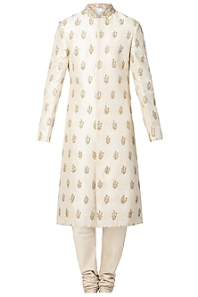 Beige Zardozi Embroidered Sherwani Set