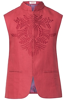 Maroon Embroidered Nehru Jacket