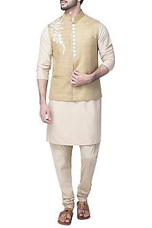 Beige Embroidered Nehru Jacket by Kommal Sood