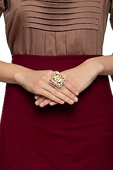 Gold plated kundan and pearl two finger ring by Just Shraddha
