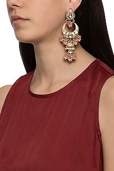 Gold plated cluster beaded long earrings
