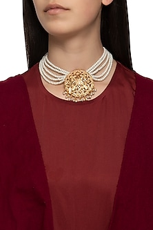 Gold plated pearl layered mughal necklace