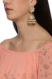 Gold plated floral jhumki earrings