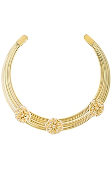 Gold plated hasli necklace by Just Shraddha