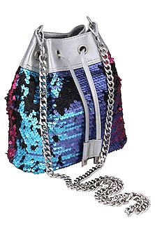 Multi colored sequins embroidered shibby bag by KNGN