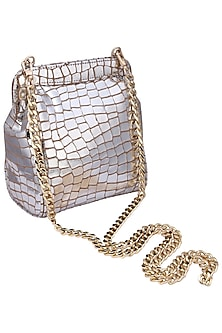 Silver jenny clutch bag by KNGN