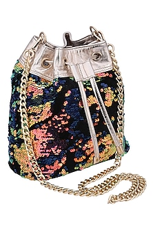 Multi colored embroidered shibby bag by KNGN