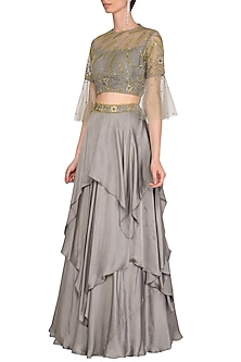 Grey Handkerchief Skirt With Embellished Top by K-ANSHIKA Jaipur