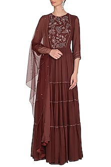 Coffee Brown Embroidered Anarkali Gown by K-ANSHIKA Jaipur