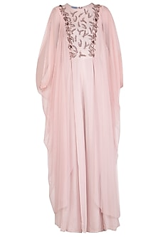 Onion Pink Embroidered jumpsuit With Side Cowl by K-ANSHIKA Jaipur