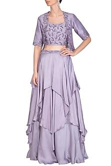 Lilac Embroidered Lehenga Set With Jacket by K-ANSHIKA Jaipur