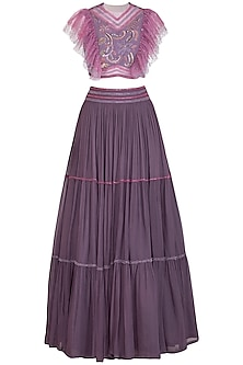 Purple Embroidered Tiered Lehenga Set by K-ANSHIKA Jaipur