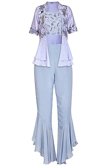 Lilac Embellished Bustier With Layered Jacket & Pants by K-ANSHIKA Jaipur