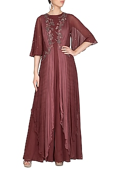 Coffee Brown Embroidered Jumpsuit With Drape by K-ANSHIKA Jaipur