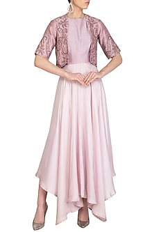 Onion Pink Gown With Embellished Jacket by K-ANSHIKA Jaipur